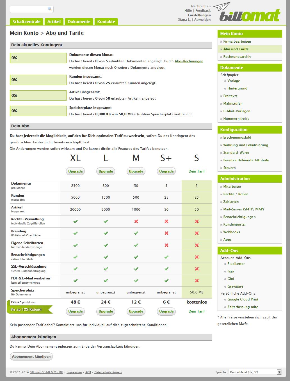 Screenshot: Abo und Tarife in der Rechnungssoftware billomat