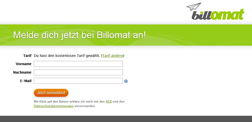 Screenshot der Anmeldung zur Rechnungssoftware billomat