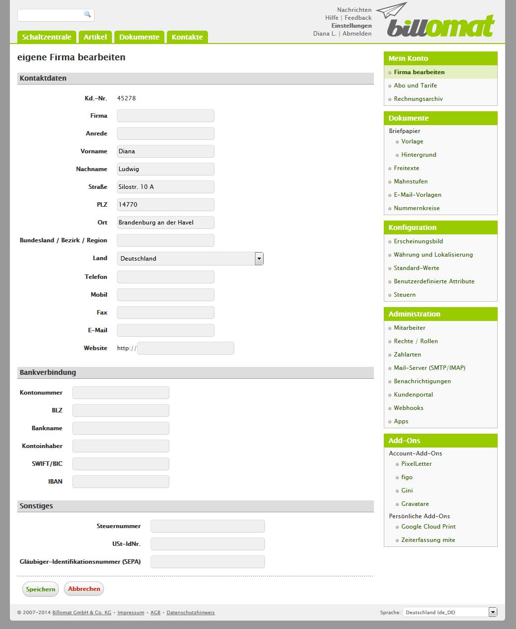 Screenshot: Firmendaten bearbeiten in der Rechnungssoftware billomat