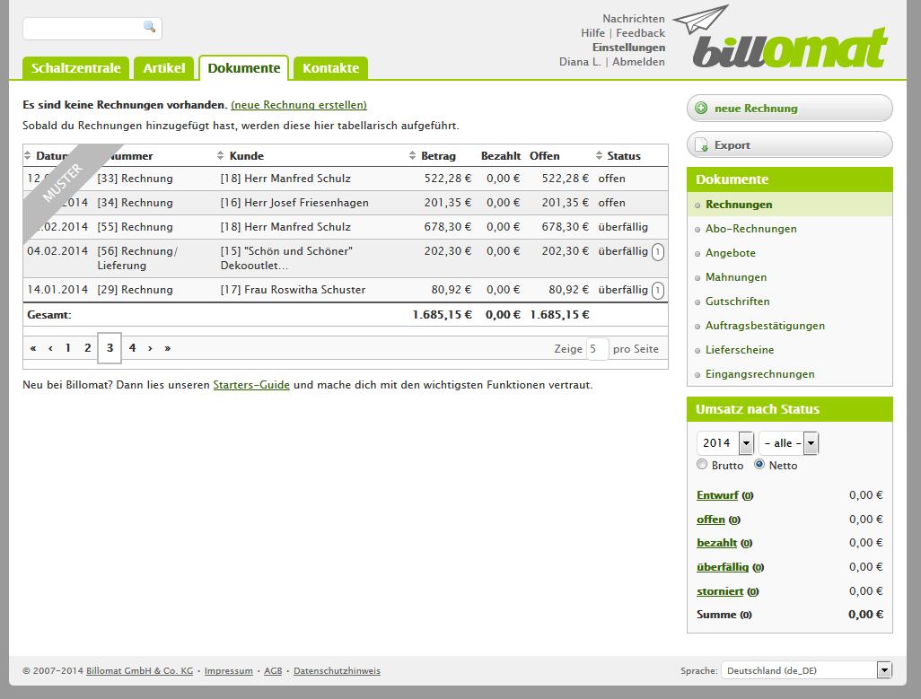 Screenshot der Dokumenten-Seite der Rechnungssoftware billomat