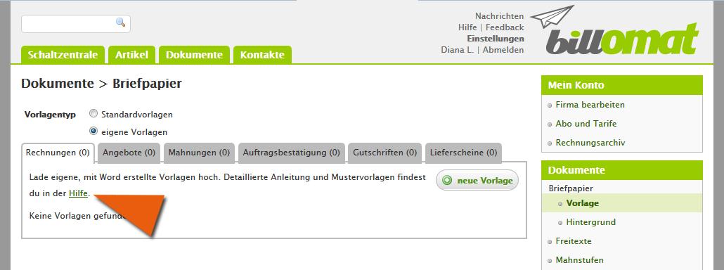 Screenshot: Eigene Rechnungsvorlagen verwenden in der Rechnungssoftware billomat