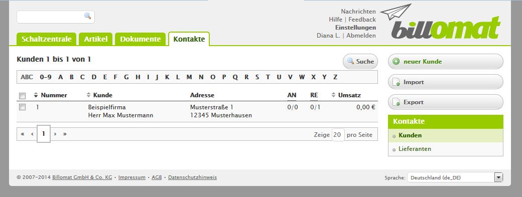 Screenshot: Einen neuen Kunden anlegen in der Rechnungssoftware billomat