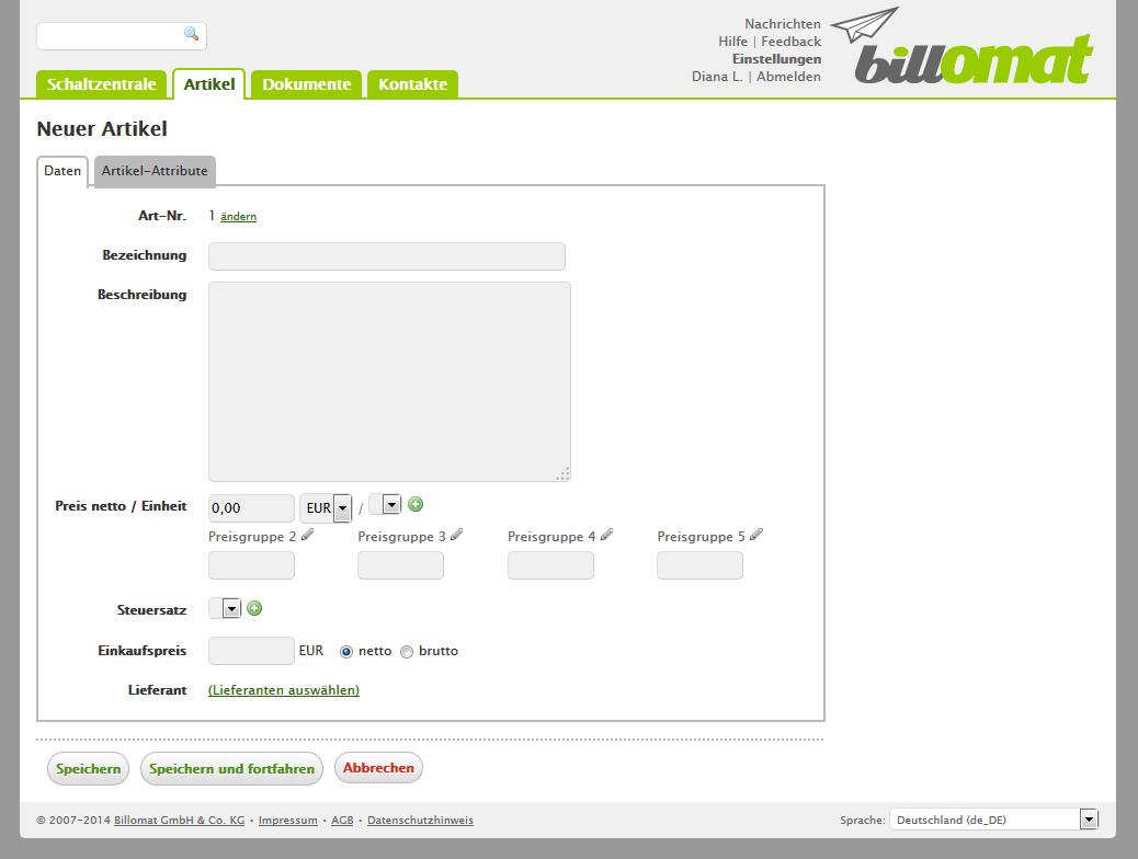 Screenshot: Einen neuen Artikel hinzufügen in der Rechnungssoftware billomat