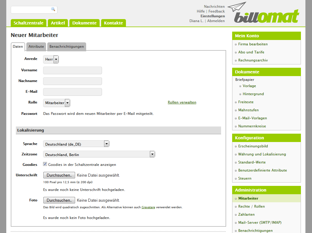 Screenshot: Einen neuen Mitarbeiter anlegen in der Rechnungssoftware billomat