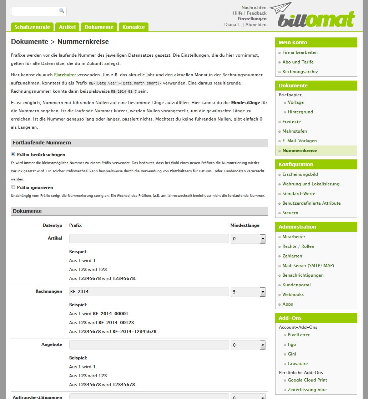 Screenshot: Die Nummernkreide in der Rechnungssoftware billomat