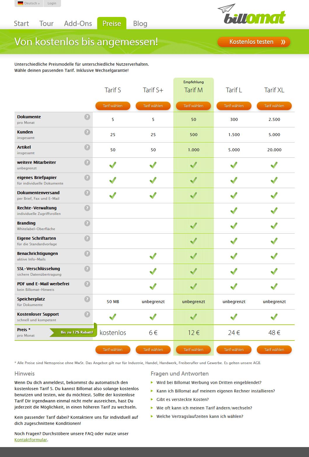Screenshot der Preise der Rechnungssoftware billomat