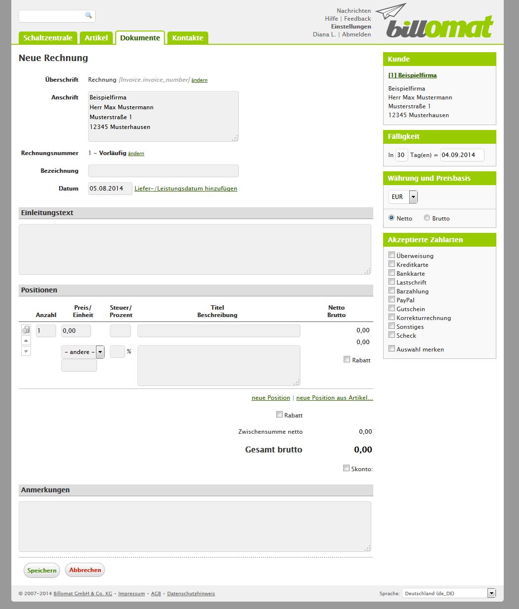 Screenshot: Einen neue Rechnung erstellen in der Rechnungssoftware billomat