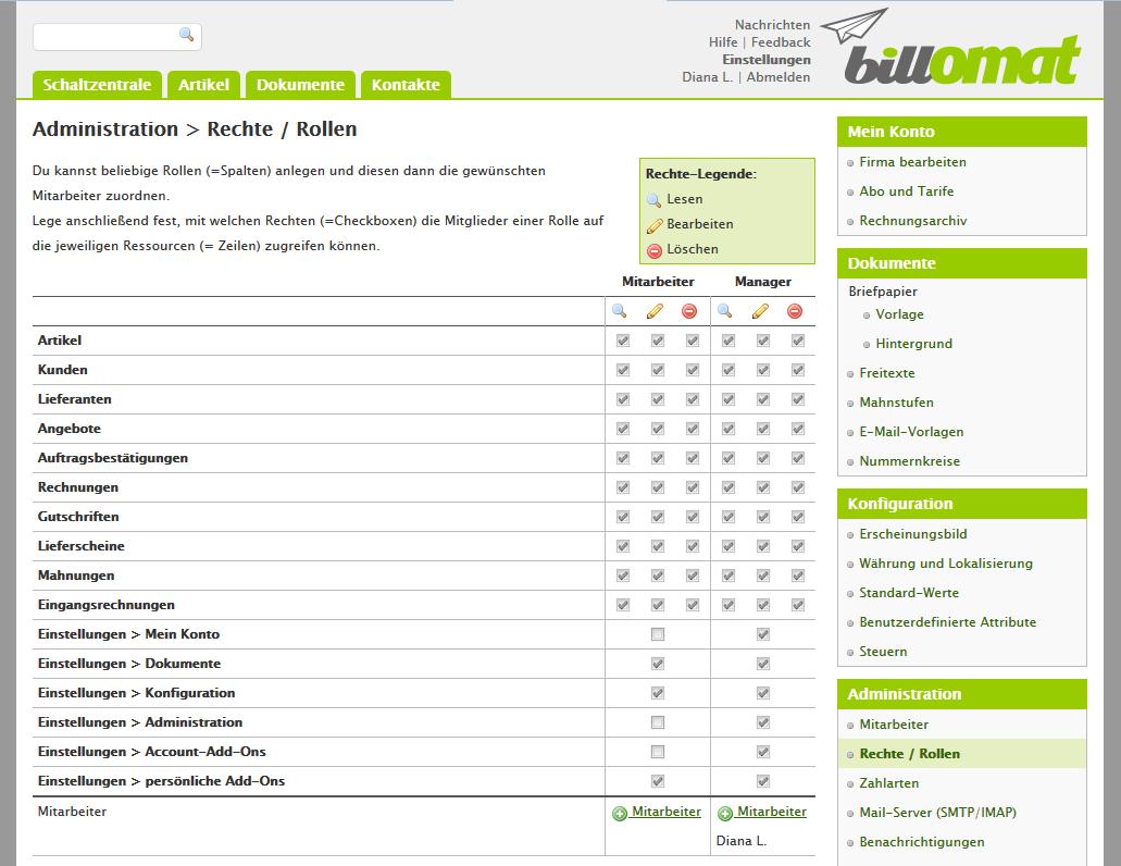 Screenshot: Rechte für deine Mitarbeiter einstellen in der Rechnungssoftware billomat