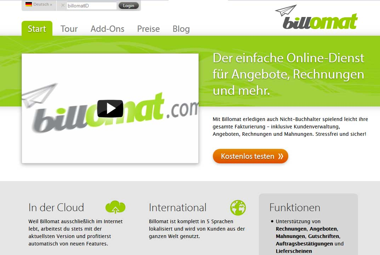 Screenshot der Startseite der Rechnungssoftware billomat