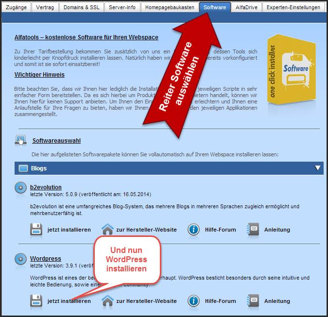 Abbildung 5.3 -  WordPress 1-Klick-Installation von Alfahosting