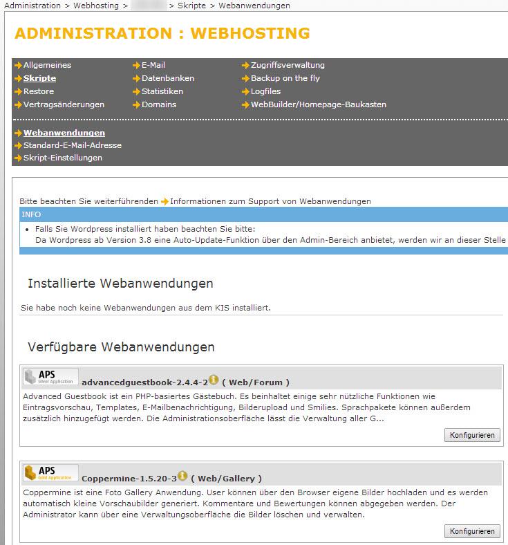 Abbildung 6.3 - WordPress 1-Klick-Installation bei HostEurope