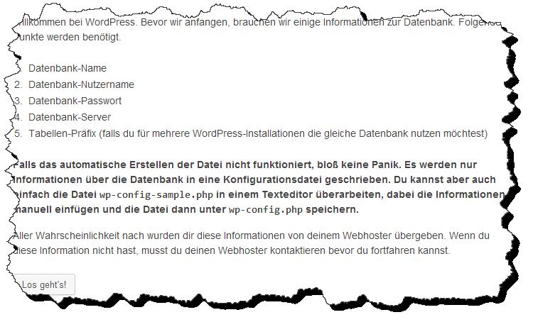 Abbildung 10.3 - Notwendige Informationen für die WordPress-Installation